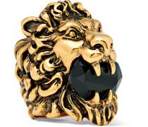 Lion's Head Burnished Gold-tone Swarovski Crystal Ring