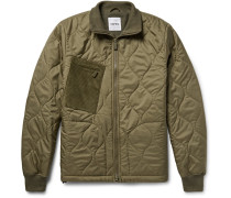 Corduroy-panelled Quilted Shell Jacket