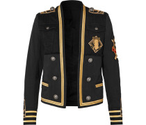 Slim-fit Appliquéd Denim And Cotton-blend Twill Jacket