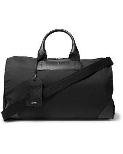Sartorial Jet Cross-grain Leather-trimmed Shell Duffle Bag - Black