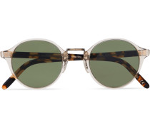 Op-1955 Round-frame Clear And Tortoiseshell Acetate Sunglasses