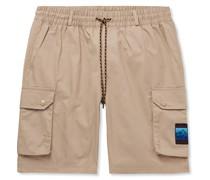 Adiplore Appliquéd Cotton-Twill Drawstring Cargo Shorts
