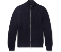 Leather-trimmed Ribbed Wool Zip-up Cardigan