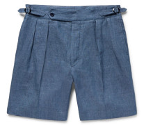 Pleated Linen And Mulberry Silk-blend Shorts