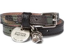 Camouflage-print Leather, Silver-tone And Swarovski Crystal Wrap Bracelet