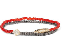 Hematite Bead, Gold And Diamond Wrap Bracelet