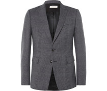 Blue Slim-fit Prince Of Wales Checked Wool Blazer