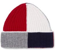 Colour-block Ribbed Wool Beanie