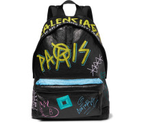 Arena Graffiti-printed Creased-leather Backpack