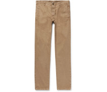 Slim-fit Herringbone Stretch Linen And Cotton-blend Trousers