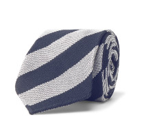 7.5cm Striped Cotton and Silk-Blend Tie