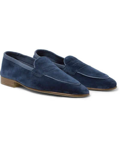 Polperro Leather-trimmed Suede Penny Loafers - Navy