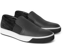 Grained-leather And Suede Slip-on Sneakers