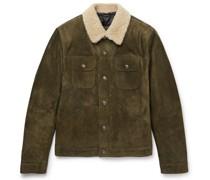 Shearling-Trimmed Suede Jacket