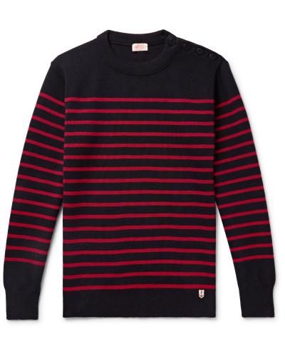 Molene Slim-Fit Button-Embellished Striped Wool Sweater