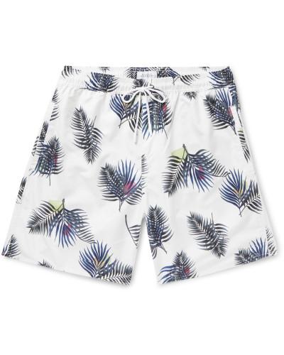 Wide-Leg Long-Length Printed Swim Shorts