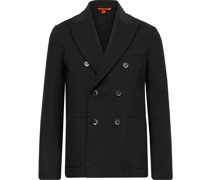 Unstructured Double-Breasted Woven Blazer