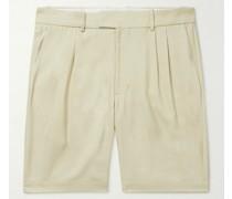 Adrian Wide-Leg Pleated Twill Shorts