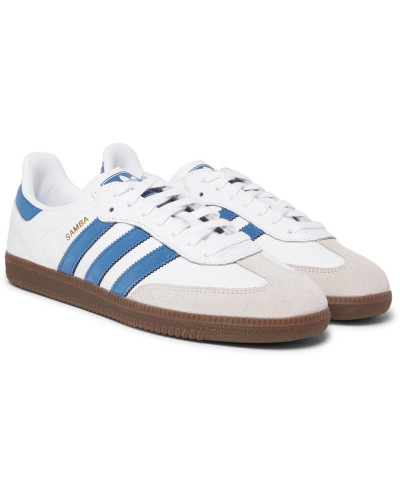 Samba Og Suede-trimmed Leather Sneakers - White