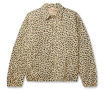 Leopard-Jacquard Cotton-Blend Bomber Jacket