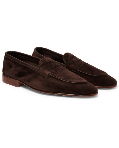Polperro Leather-trimmed Suede Penny Loafers - Dark brown