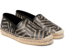 Leather-trimmed Coated-canvas Espadrilles