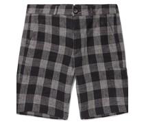 Judo Checked Linen Shorts