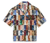 Camp-Collar Printed Silk-Crepe Shirt