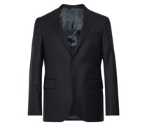 Blue Slim-Fit Wool Blazer