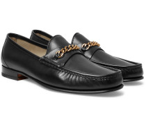 York Chain-trimmed Leather Loafers