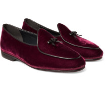 Marphy Leather-trimmed Velvet Loafers