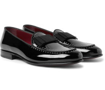 Grosgrain-trimmed Studded Patent-leather Loafers