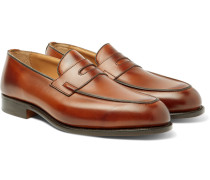 Blair Burnished-leather Penny Loafers