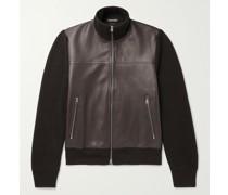Panelled Leather and Merino Wool Blouson Jacket