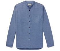 Rutherford Grandad-Collar Mélange Cotton Shirt