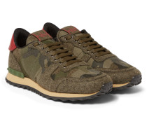Leather-trimmed Camouflage-print Felt Sneakers