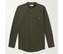 Grandad-Collar Cotton-Flannel Half-Placket Shirt