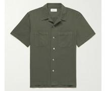 Convertible-Collar Garment-Dyed Cotton and Linen-Blend Shirt