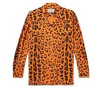Camp-Collar Leopard-Print Lyocell Shirt