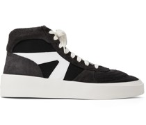 Suede, Leather and Canvas High-Top Sneakers