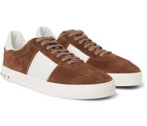 Flycrew Leather-panelled Suede Sneakers