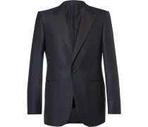 Blue Slim-fit Prince Of Wales Checked Wool And Cotton-blend Tuxedo Jacket
