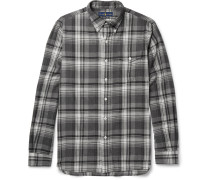 Suede Elbow-patch Checked Cotton-flannel Shirt