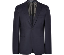Blue Stanford Slim-fit Herringbone Wool Suit Jacket