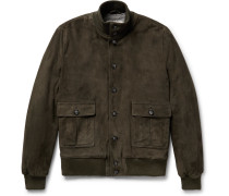 Valstarino Shearling-lined Suede Bomber Jacket