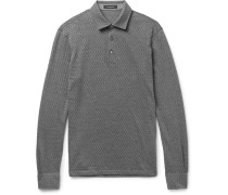 Slim-fit Herringbone Cotton And Wool-blend Polo Shirt
