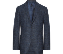 Navy Slim-fit Prince Of Wales Checked Woven Blazer