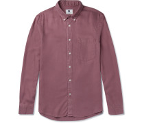 Falk Button-down Collar Garment-dyed Tencel Shirt
