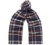 + Drake's Checked Merino Wool And Cashmere-blend Scarf
