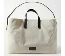 Haven Leather-Trimmed Cotton-Canvas Tote Bag